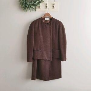 Vtg CHRISTIAN DIOR Suit Jacket Skirt Wool Brown
